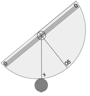 Simulated usage of clinometer showing angle of inclination formed by looking up