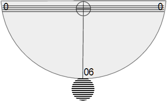 Simulated protractor, straw, and tape combination