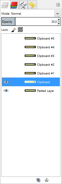 Screenshot showing GIMP's layer view