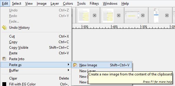 Screenshot showing GIMP's paste as new layer feature