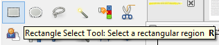 Screenshot showing GIMP's selection tool