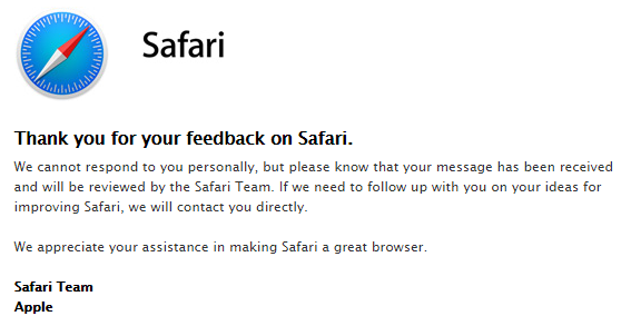 Thank you note from Apple related to submitting Safari feedback